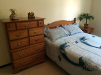 Double bed, chest of drawers, night table