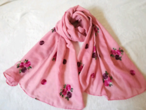 High quality and elegant Floral embroidered scarf, hijab, shawl