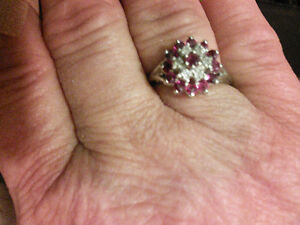 BEAUTIFUL, SOLID 10K WHITE GOLD, RUBY AND DIAMOND RING, SIZE 9.5