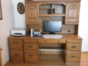Palliser Executive Desk With Hutch And Filing Cabinet