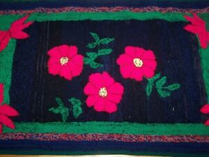 Vintage Hand Hooked Floral Themed Rug Home Decor Accent