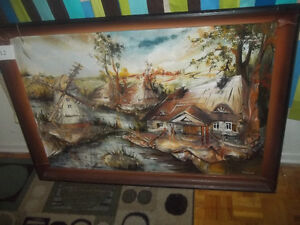 Large Oil on leather painting-framed art