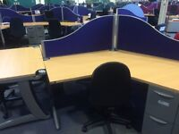 2 office desks with partitioning