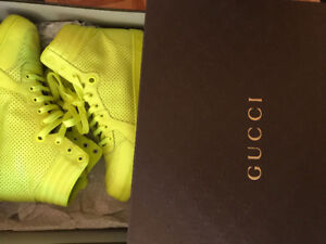 GUCCI NEON YELLOW SHOES GG LOGO HIGH TOP SNEAKERS SIZE 10 Gucci