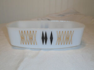 Vintage Federal Glass White Milk Glass Loaf Pan Dish Retro Gold