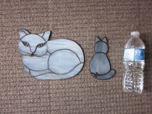 VINTAGE PAIR OF CAT SUNCATCHER STAINED GLASS LEADED CATS