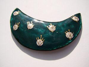 Vintage signed Denyse Langlois copper enamelware brooch & earrin