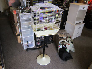 Tall Bird Cage On Pedestal With Extras For Sale