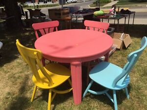 Colourful round table with chairs