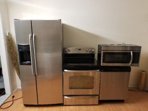 Complete ge stainless steel 4 piece appliances fridge stove dis