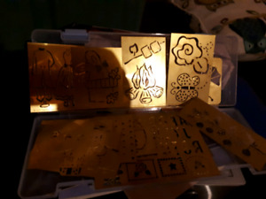 Embossing heat tool light box and metal stencils