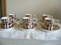 6 Royal Crown Derby Imari (1128) Demitasse cups and saucers