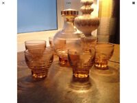 1950s /1960s Vintage Amber Glass Decanter And 6 Shot Glasses