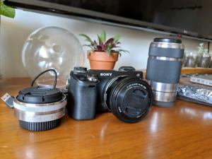 Sony Camera and 3 Lenses