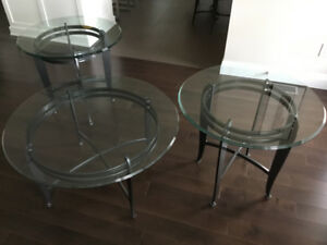 Wrought iron and glass coffee table and side table set