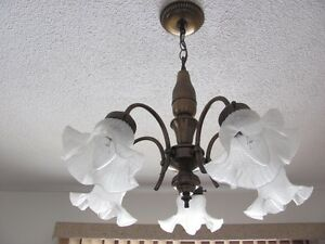 5 Globe Chandelier - Brushed Bronze