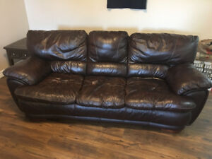Super comfortable brown genuine leather couch