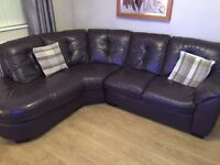 Full leather left hand corner suite and swivel chair