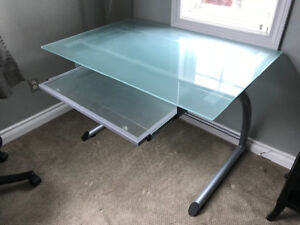 Glass top computer desk, chair & floor lamp
