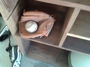 CLEAN, SOCCER BOOTS,  ALL LEATHER BASEBALL GLOVE AND BALL