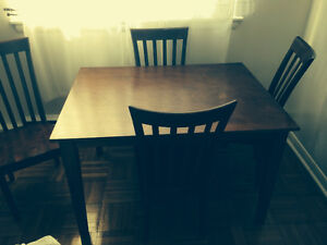 Wooden Dinette Table and four chairs, Good Condition