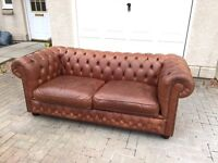 3 seater brown chesterfield sofa