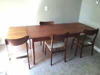 Teak Dinning Table Four Chairs AND Teak Hutch with Glass Top