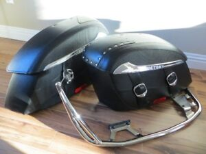 Victory Hard Leather Saddlebags with Chrome Rails