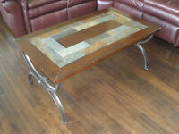 Coffee table with rock appearing top