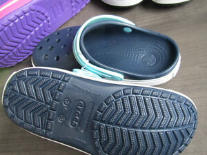 Crocs, (authentic Crocs) sz 1 (navy blue) and sz 2 (purple)REDUC