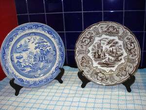 Two Antique Plates with Stands