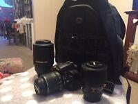Nikon D5100,2 lenses and travel bag