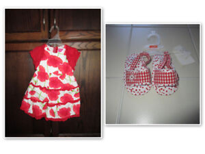 Girls 2pc red pattern dress size 6/9m & red sandals size 3