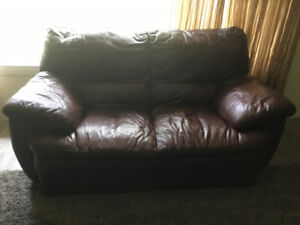 Leather lazyboy couch and loveseat