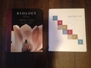 Hard cover biology and Chemistry Textbooks