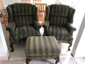 2 Wingback chairs and ottoman