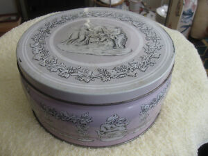 """JUST a HANDY OLD 8-INCH ROUND COVERED """"ALMOND CRESCENT"""" TIN"""
