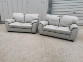 Grey faux leather 2x2 seater sofas couches suite🚚
