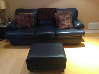 Leather sofa-Great condition. Custom Built - Made in Canada