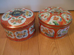 "TWO DECORATIVE OLD VINTAGE ""BUTTON-BOX"" KNOBBED STORAGE TINS"