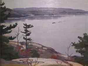 George Thomson Parry Sound Harbour Steam Ship Oil painting