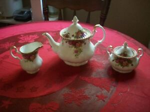 Old Country Rose Teapot, Sugar and Creamer