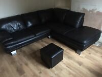 Leather corner couch £375 Ono