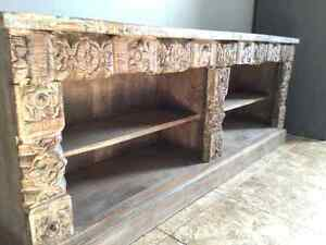 Reclaimed wood carved antique entertainment stand