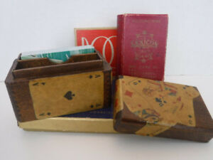 VINTAGE DOUBLE DECK PLAYING CARD BOX & PLAYING CARD GAMES