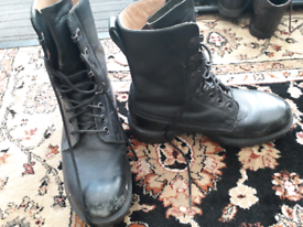 Black leather steel toe cap military style boots size 7
