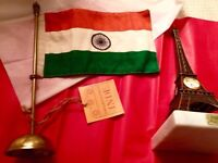 Indian flag brass stand table top from emporium