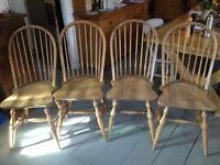 Four beautiful solid wood chairs