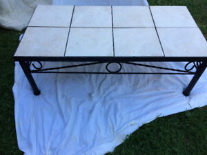 wrought iron coffee table with insert tiles