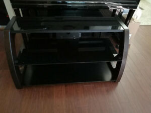 Like new TV stand (tempered tinted glass top with solid wood